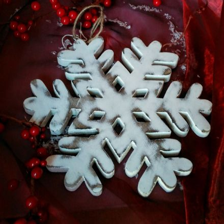 over 40% off Hand carved Mango Wood Snowflake decorations
